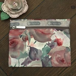 LeSportsak Floral Pouch Travel Makeup Bag